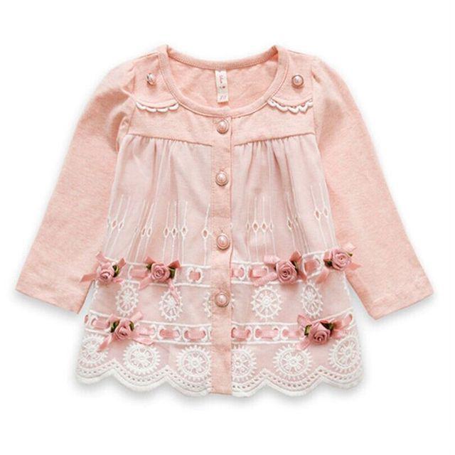 Розничная осень новорожденного девушки одежду кружева цветы мягкий хлопок кардиган пальто принцесса детская экипировка 0 - 2 age