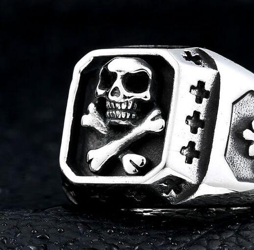 Прямая поставка, Размер 7 ~ 13, кольцо с черепом и крестом, ювелирные изделия из нержавеющей стали 316L, модные полировочные кольца с призраком