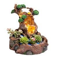 Resin Succulents Plants Small Bonsai Pot Vase Micro Landscape Flower Pot Garden Decoration with LED String