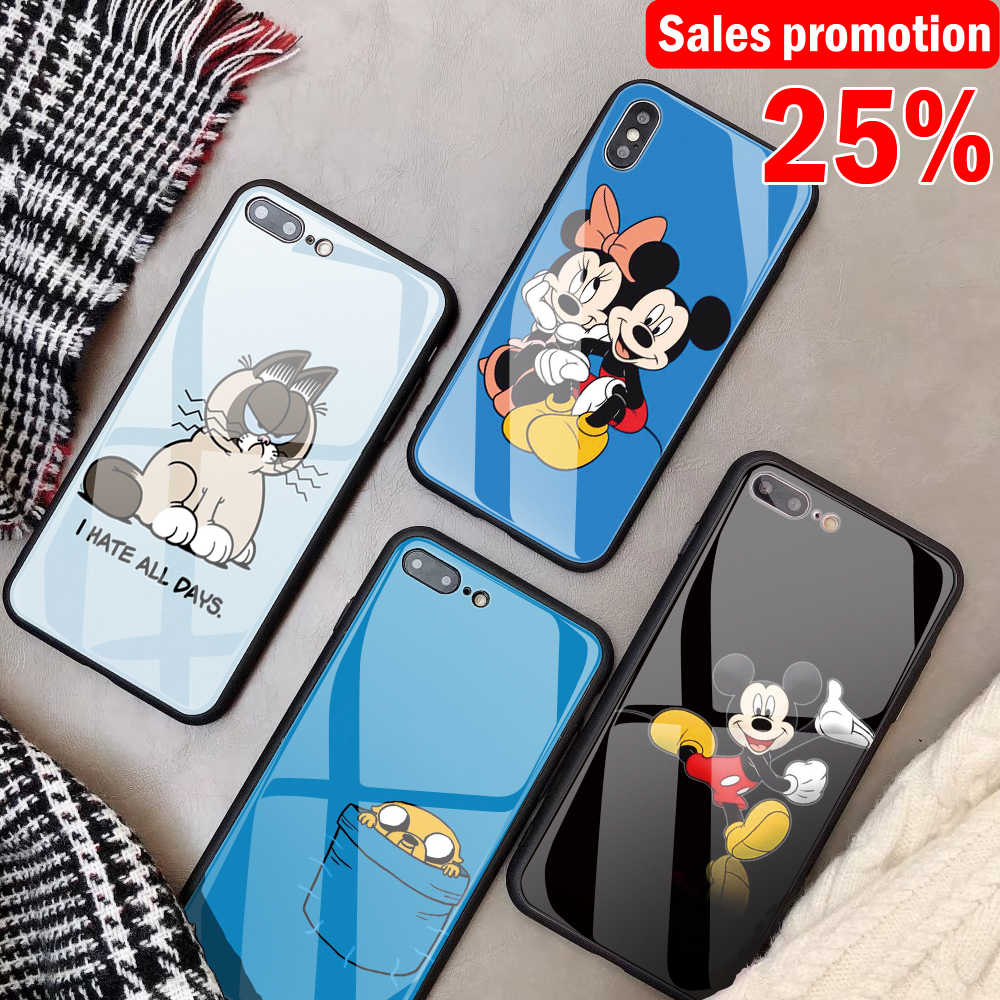 detail feedback questions about diy mickey cartoon tempered glassdiy mickey cartoon tempered glass phone case for iphone 7 8 x 6 6s plus capa