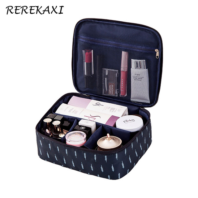 REREKAXI Waterproof Oxford Women Cosmetic Bag Travel Makeup Case Organizer Toiletry Storage Pouch Lady's Make Up Bags Toilet Bag