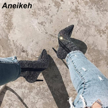 Aneikeh 2018 New Autumn Winter Glitter Shoes Woman Chelsea Boots Sexy Pointed Toe 11cm Thin High Heels Ankle Boots Women Silver