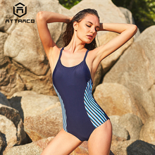 Attraco One Piece Women Sports Swimwear Swimsuit Backless Beachwear Bathing Suit Stripe Monikini Bikini
