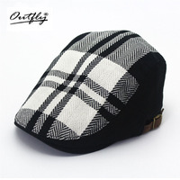 Hemp Material Black And White Checkered Beret Men Male Short Eaves Couple Berets Hat Simple Cap