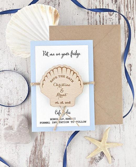 Custom Seashell Beach Wedding Invitation Cards With Wooden Save The