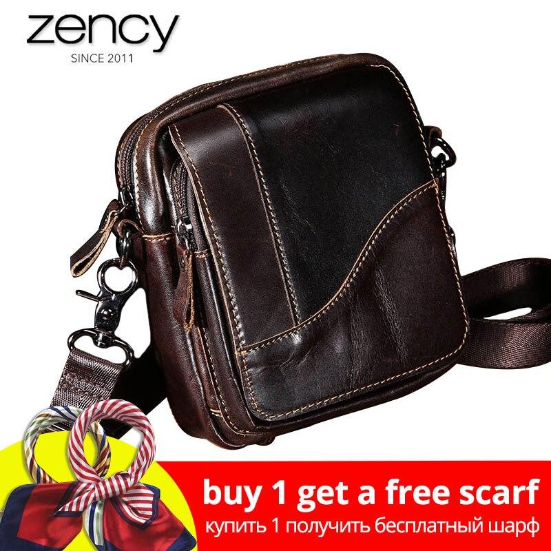 Zency 100% Genuine Leather Handbag Vintage Men Crossbody Bag High Quality Small Messenger Shoulder Purse For Male