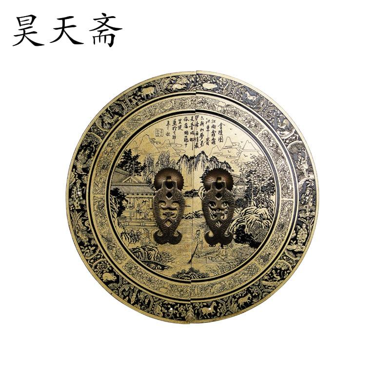[Haotian vegetarian] antique copper fittings copper door handle Chinese Jinling Figure HTB 154 diameter 24CM