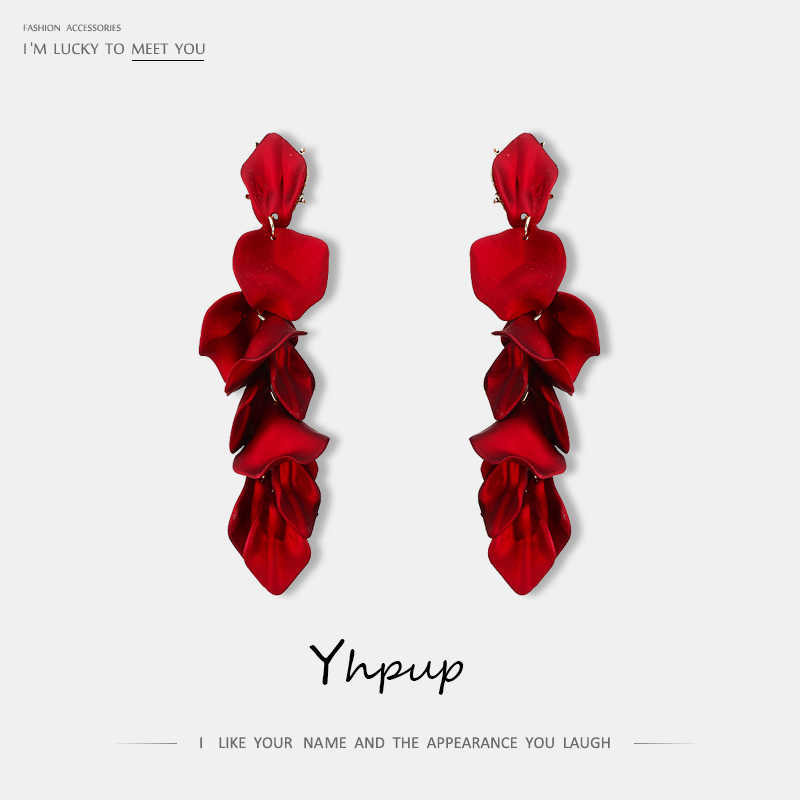 Yhpup New Fashion Brand Acrylic Long Petal Dangle Drop Earrings Exquisite High Quality Earrings For Female Party Wedding Jewelry