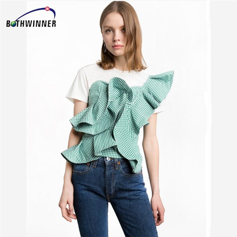 Bothwinner  One Shoulder Blouse Shirt Women Tops Summer Irregural Striped Shirt Blouse Chemise Femme Elegant Ruffles Zipper Blus