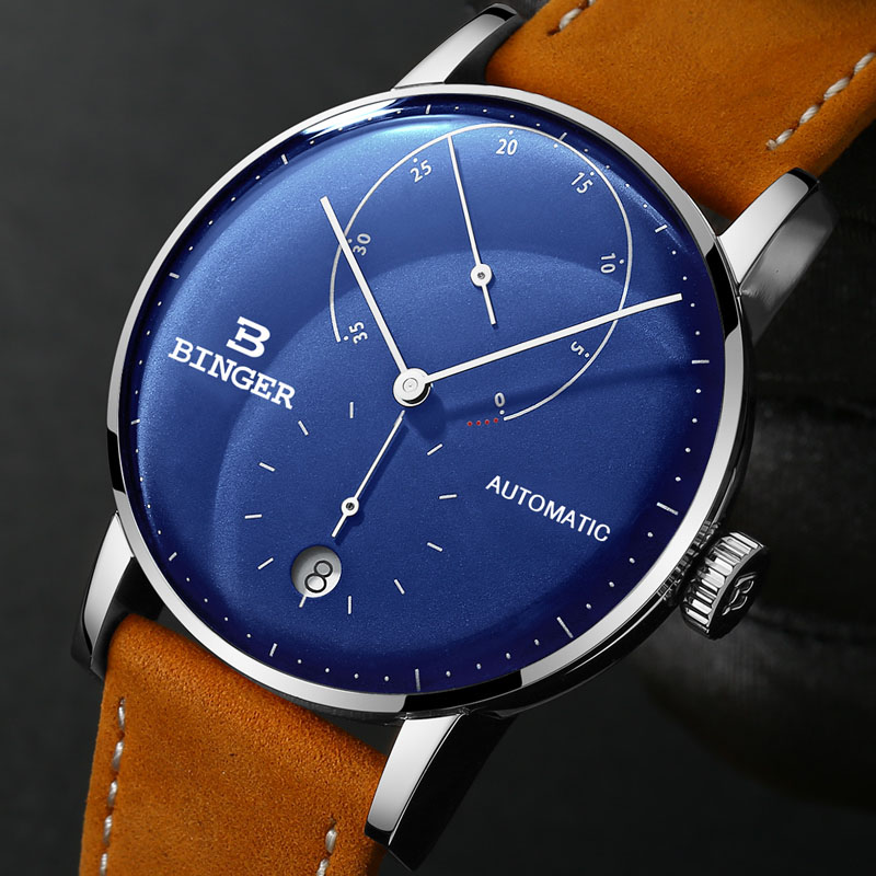 Switzerland BINGER Men Watch Automatic Mechanical Mens Watches Male Japan Movement Blue Business relogio masculino B-1187G-8 đồng hồ binger bg54