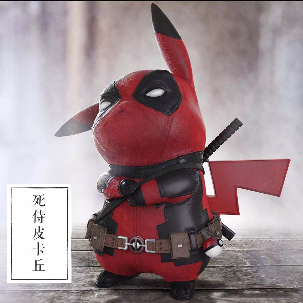 15CM Pikachu Cosplay Deadpool Cartoon Anime Pocket Action Figure PVC toys Collection figures for friends gifts go-kart