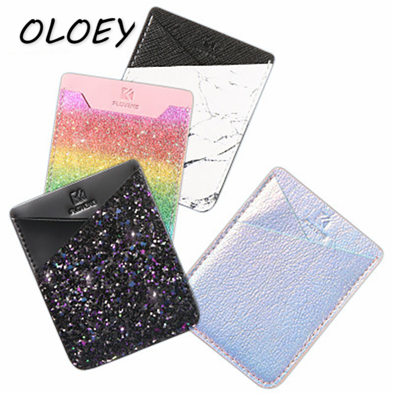 Universal Phone Back ID Card Holder Shining Sequins Credit Card Cover Adhesive Sticker Cell Phone Change Purse Pack# стоимость