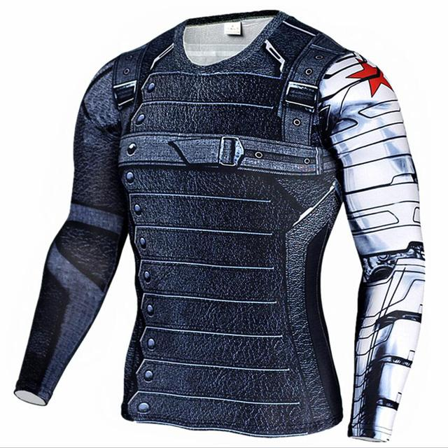 Новый Marvel супергероя Зимний Солдат баки 3D Мужская футболка фитнес crossfit футболка с длинным рукавом сжатия рубашка мужская MMA