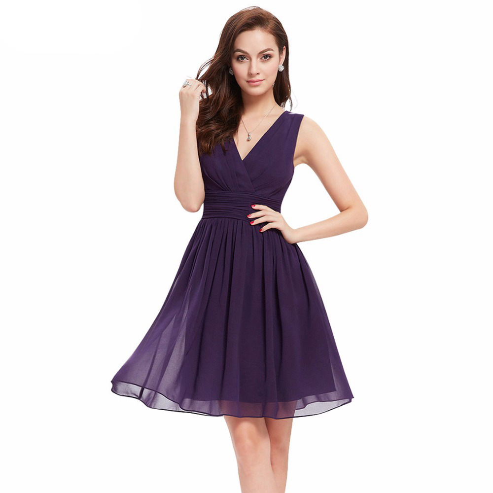 High quality short purple bridesmaid dress promotion shop for high vanme chiffon purple bridesmaid dress short v neck pleated waist summer adult cheap dresses for wedding party robe femme ombrellifo Image collections