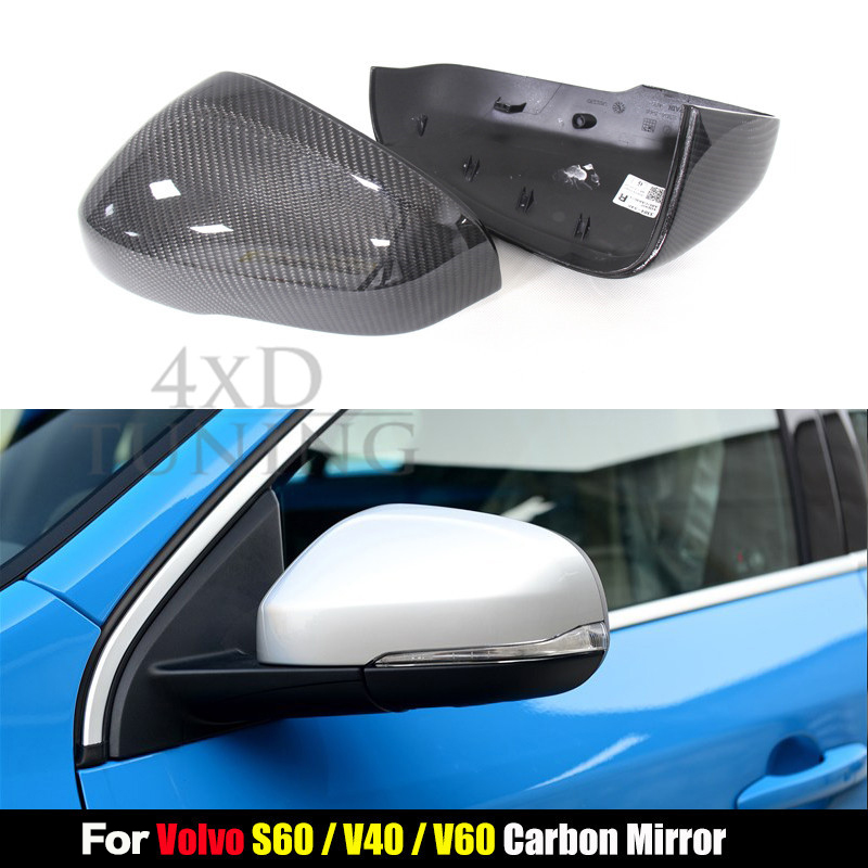 For Volvo 1:1 Replacement Style V40 V60 S60 Carbon Fiber Mirror Cover Rear View 2012 2013 2014 2015 2016 2017