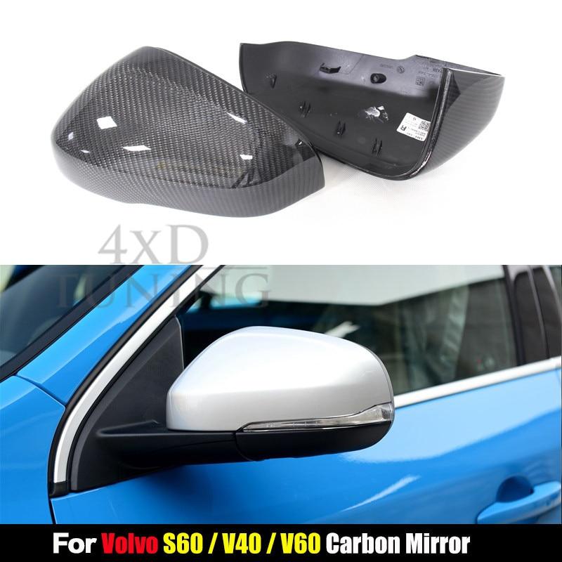 For Volvo 1:1 Replacement Style V40 V60 S60 Carbon Fiber Mirror Cover Rear View 2012 2013 2014 2015 2016 2017 пламенный мотор машинка инерционная volvo пожарная охрана