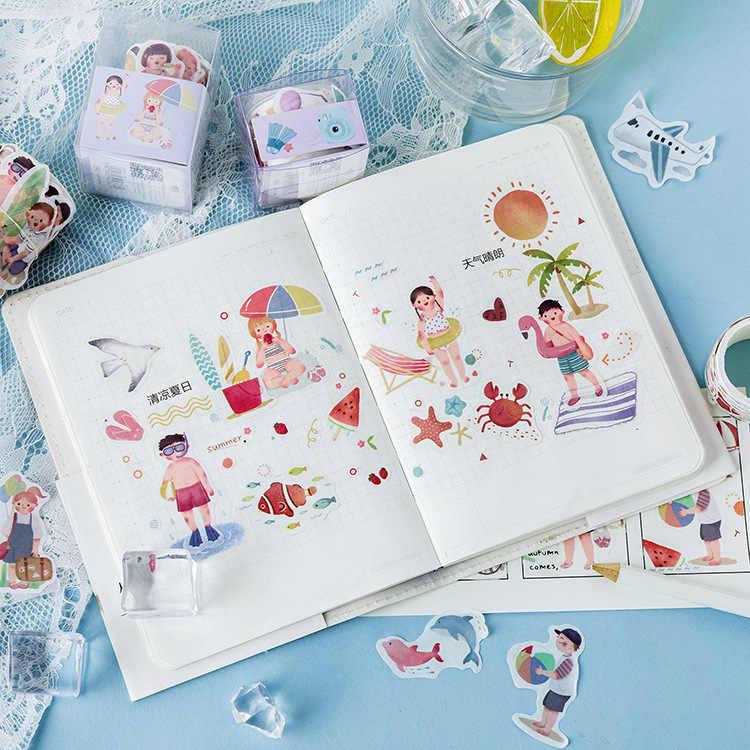 80 piezas/rollo de viaje de Isla de niña niño Collage decorar cinta de Washi cinta adhesiva Scrapbooking DIY etiqueta engomada cinta adhesiva