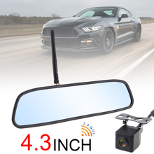 4.3 Inch HD Wireless Car Rearview Mirror Monitor Auto Parking System with Rear View Reverse Camera Built-in Antenna for Auto Car liislee for seat ibiza st 6j 2009 2017 3 in1 special rear view wifi camera wireless receiver mirror monitor diy parking system