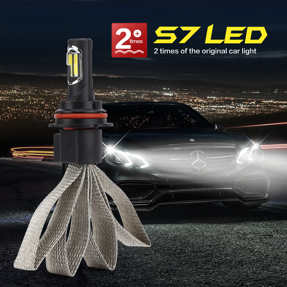 ФОТО Auto modified led headlight system S7 9004 6000K Pure white car lighting  waterproof lamp bulb for BMW Nissan Benz Audi etc.