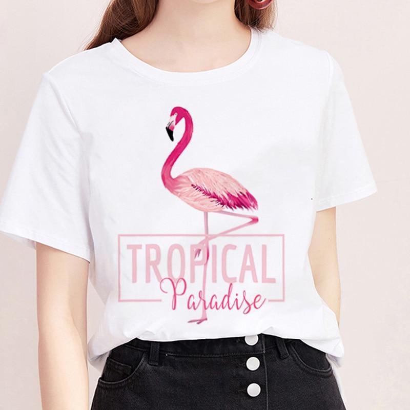 Summer   T     shirt   Women Harajuku Printing Flamingo Casual Fashion Tshirt O-neck White Tops Female Clothing Short Sleeve   T  -  shirt