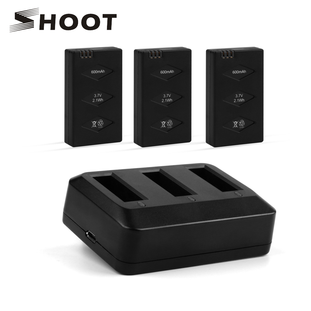 SHOOT 3 in 1 3pcs 3.7v 600mAh LiPo Battery Set with Rapid 3 Port Adapter Battery Charger for Parrot Mini Drone Rolling Spider parrot minidrones series rolling spider mambo swing quadcopter drone parts fast charger jumping race sumo car battery charger