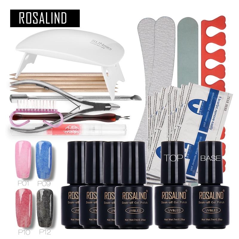 Rosalind Faux Fur Nail Art Tools Cure 6W UV Lamp Gel Polish Soak Off Base Coat Top Coat Gel Nail Nail Manicure Kits Nai цены