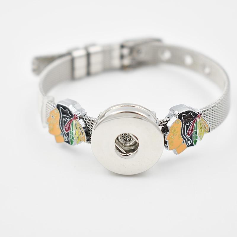 Chicago Blackhawks 2018 Enamel Slide Charms Bracelet 8MM Net 18MM Snap Button Bracelet(Stainless Steel Bracelet)