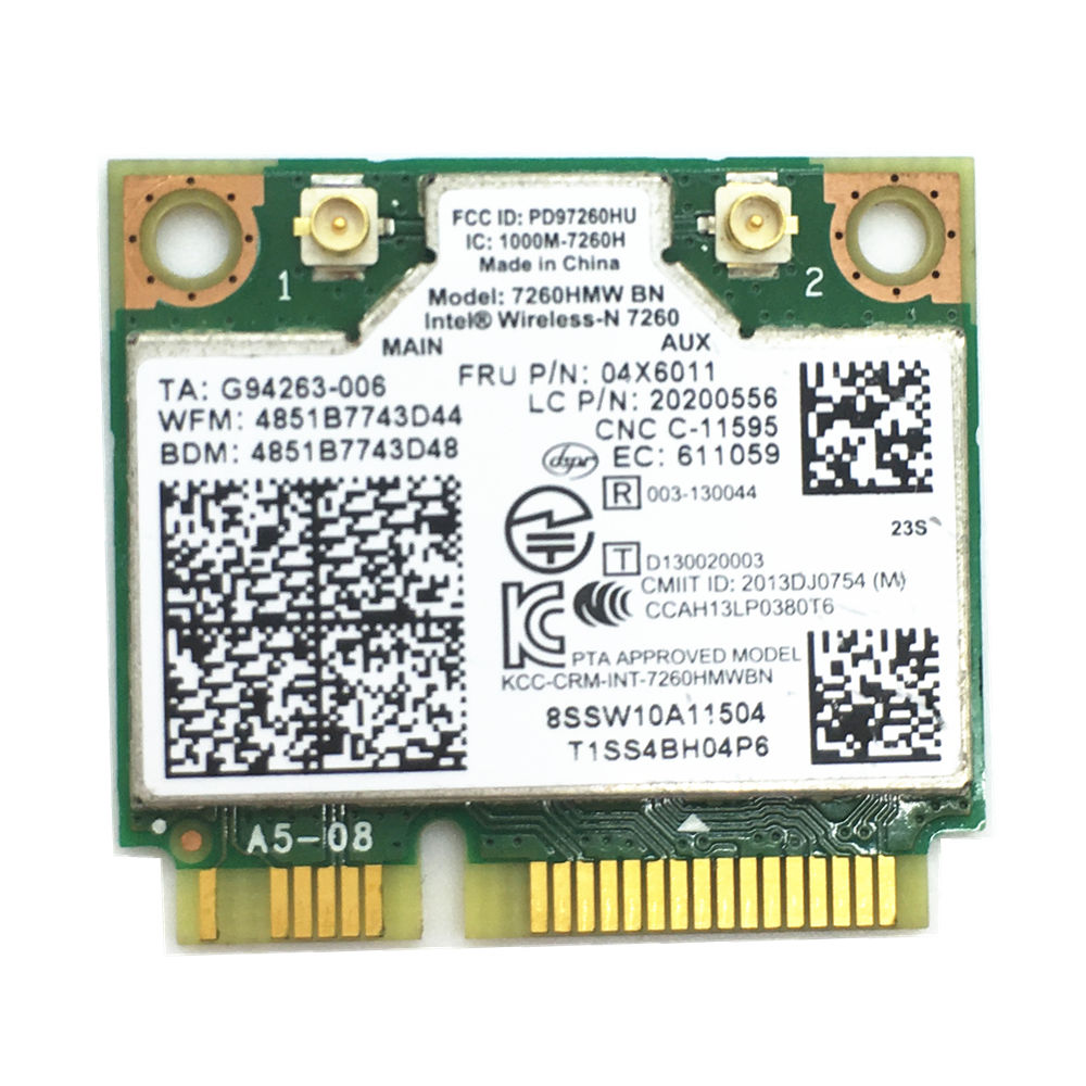 7260HMW + BT 4.0 MINI-PCI E WLAN CARD INTEL 7260 BN WIRELESS-N For Lenovo 04X6011 K4350 K4250 B5400 M5400 M4400S S410 S310 S540