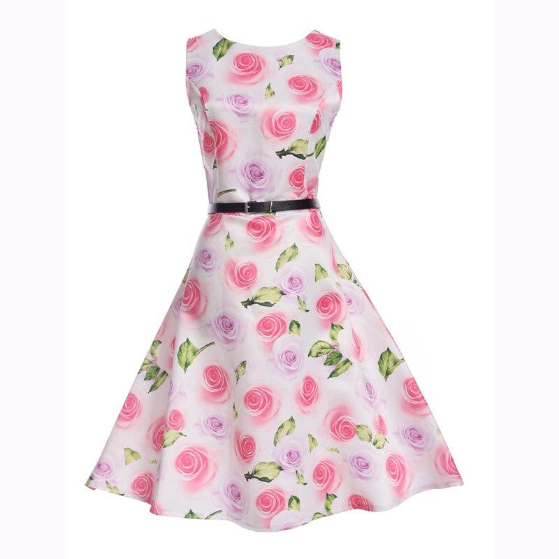 2017 New Brand Primavera Estate del Vestito Abbigliamento Donna Vintage Stampato Floreale del Vestito Più Il Formato Maxi Abiti Big Swing Party Vestidos