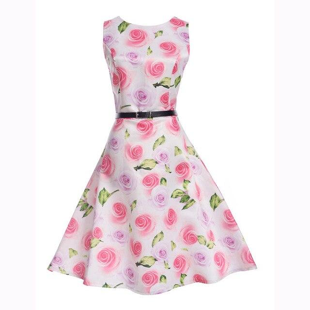 Новинка 2017 года бренд сезон: весна–лето платье женская одежда Винтаж с цветочным принтом платье плюс Размеры Макси платья большие качели вечеринку Vestidos