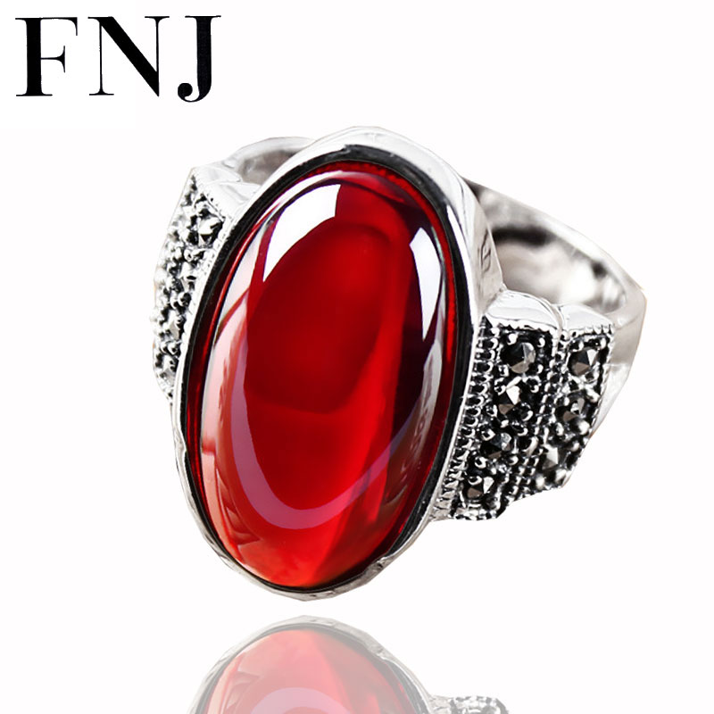 цены FNJ Synthetic Garnet Ring Vintage Natural Green Stone 925 Sterling Silver anillos S925 Thai Silver Wedding Rings for Women