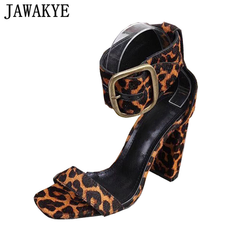 High Quality Horsehair Leopard Sandals Women Peep Toe 10.5 CM Chunky High Heels Summer Shoes Woman Metal Buckle Sexy Party ShoesHigh Quality Horsehair Leopard Sandals Women Peep Toe 10.5 CM Chunky High Heels Summer Shoes Woman Metal Buckle Sexy Party Shoes