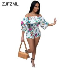 Off Shoulder Rainbow Striped Sexy Bodycon Playsuit 3/4 Lantern Sleeve Floral Print Rompers Womens Club Ruffles Sashes Jumpsuits white off shoulder high waisted lantern sleeves playsuit