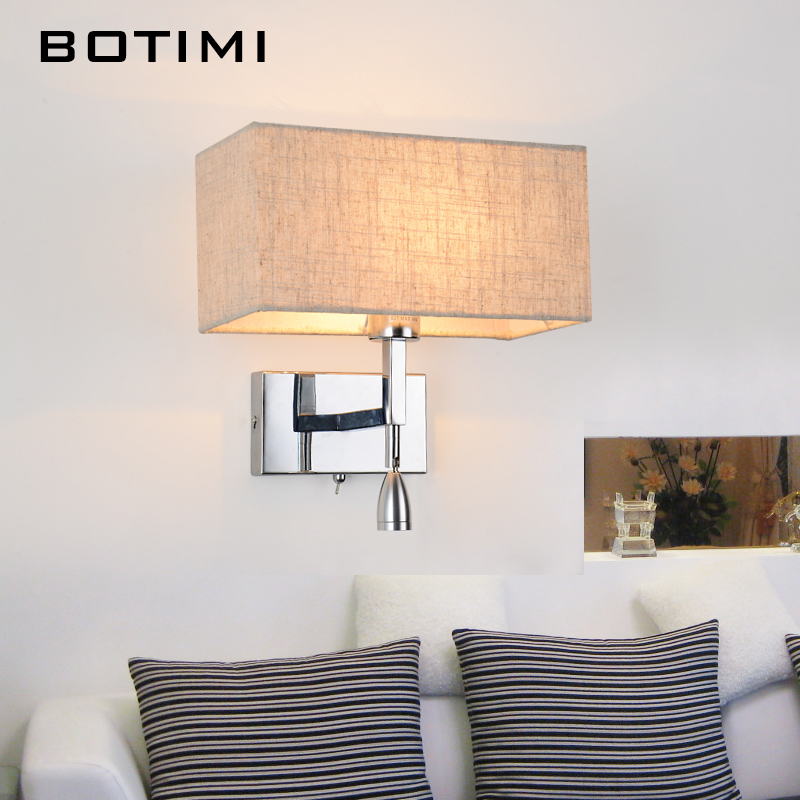 BOTIMI Modern LED Wall Lamp For Living Room Bedroom Hotel Bedside Wall Sconce With Fabric Lampshade LED Luminaire Home Lighting modern lamp trophy wall lamp wall lamp bed lighting bedside wall lamp