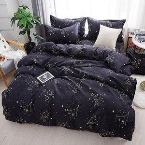 Image 4 - Custom Soft Bedding Sets USA Russia Europe King Queen Size Duvet Cover Set Soft Sheet Set Single 200*200 bed linen Black Star