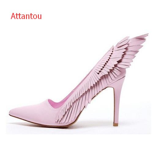 647032faa0e7 hot selling pink wings designs high heel shoes pointed toe woman pumps  butterfly suede high heels