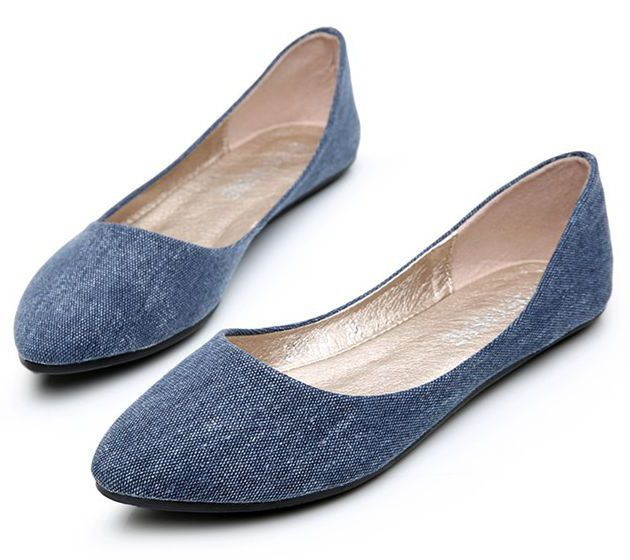 Plus sizes 34-41 denim blue beige comfortable flats shoes for women DS155 female ladies spring summer brand new casual flats