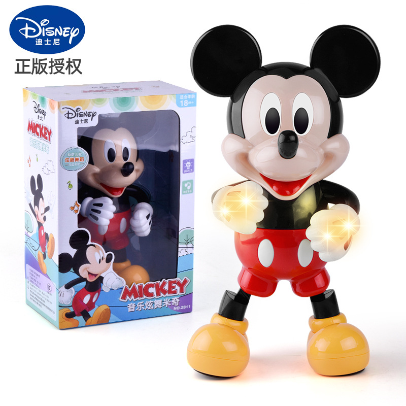 Disney Dancing Mickey Mouse Figure Action Dazzling Music Robot Shiny Educational Electronic Walking Dancing Robot Kids Robot Toy
