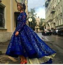 Royal Blue Lace Hi-Lo Prom Dresses with long sleeves Saudi Arabia Design party dress vestidos de festa