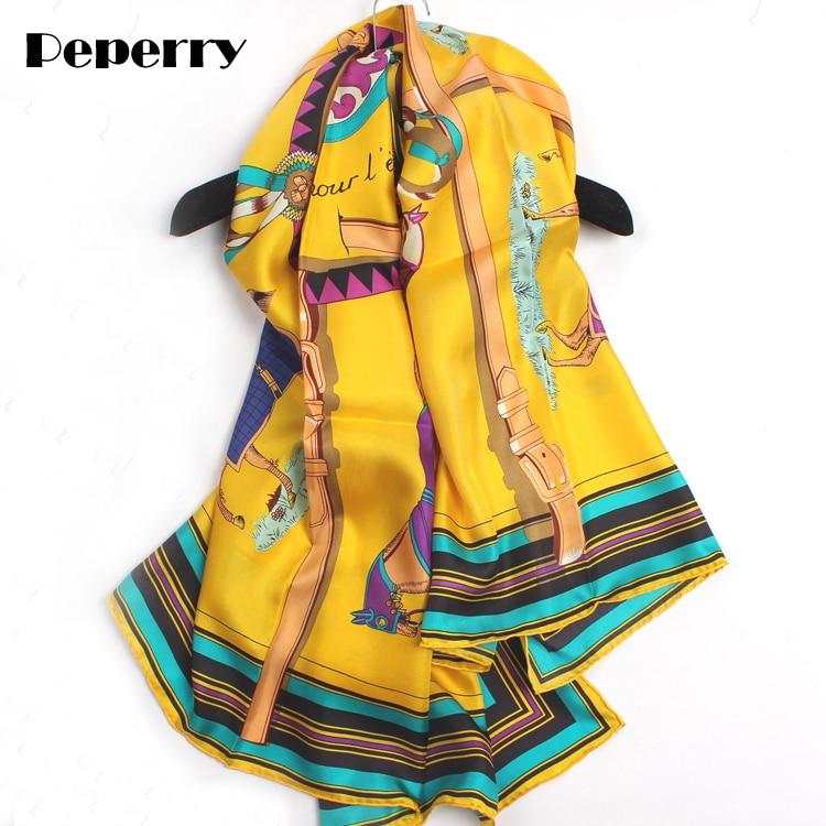 Pure 100 Women Scarf luxury Brand Designer Twill Silk 10 Horses Handmade Hemming Bandanas Scarves Big