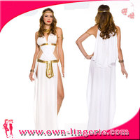 100 Polyester Long Gown White Sexy Goddess Costume