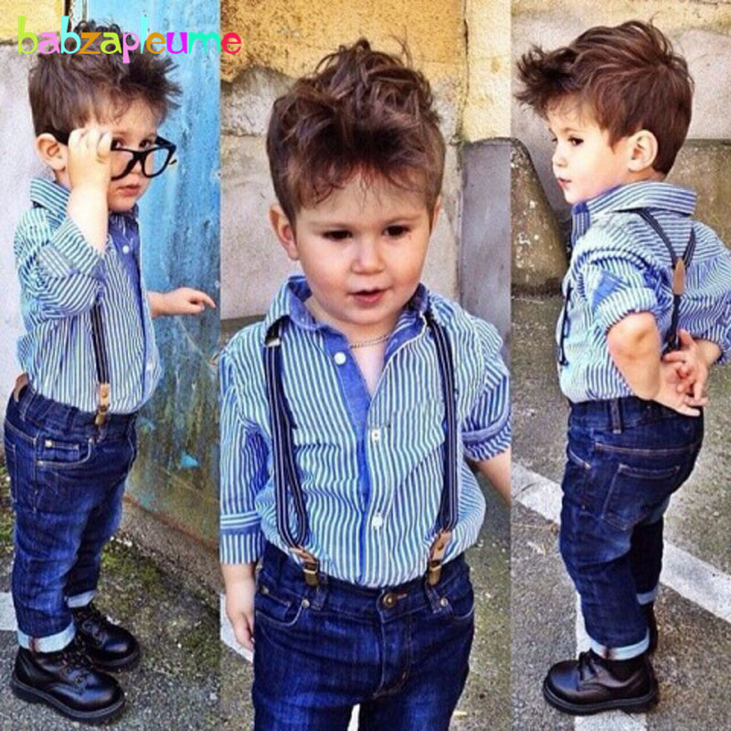 2dc3c7734fd9b 2Piece 0-5Years Spring Autumn Kids Clothes Casual Baby Boys Suits Blue  Stripe