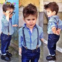 2Piece/Zero-5Years/Spring Autumn Kids Clothes Casual Baby Boys Suits Blue Stripe Shirt+Jeans Gentleman Children Clothing Set BC1106
