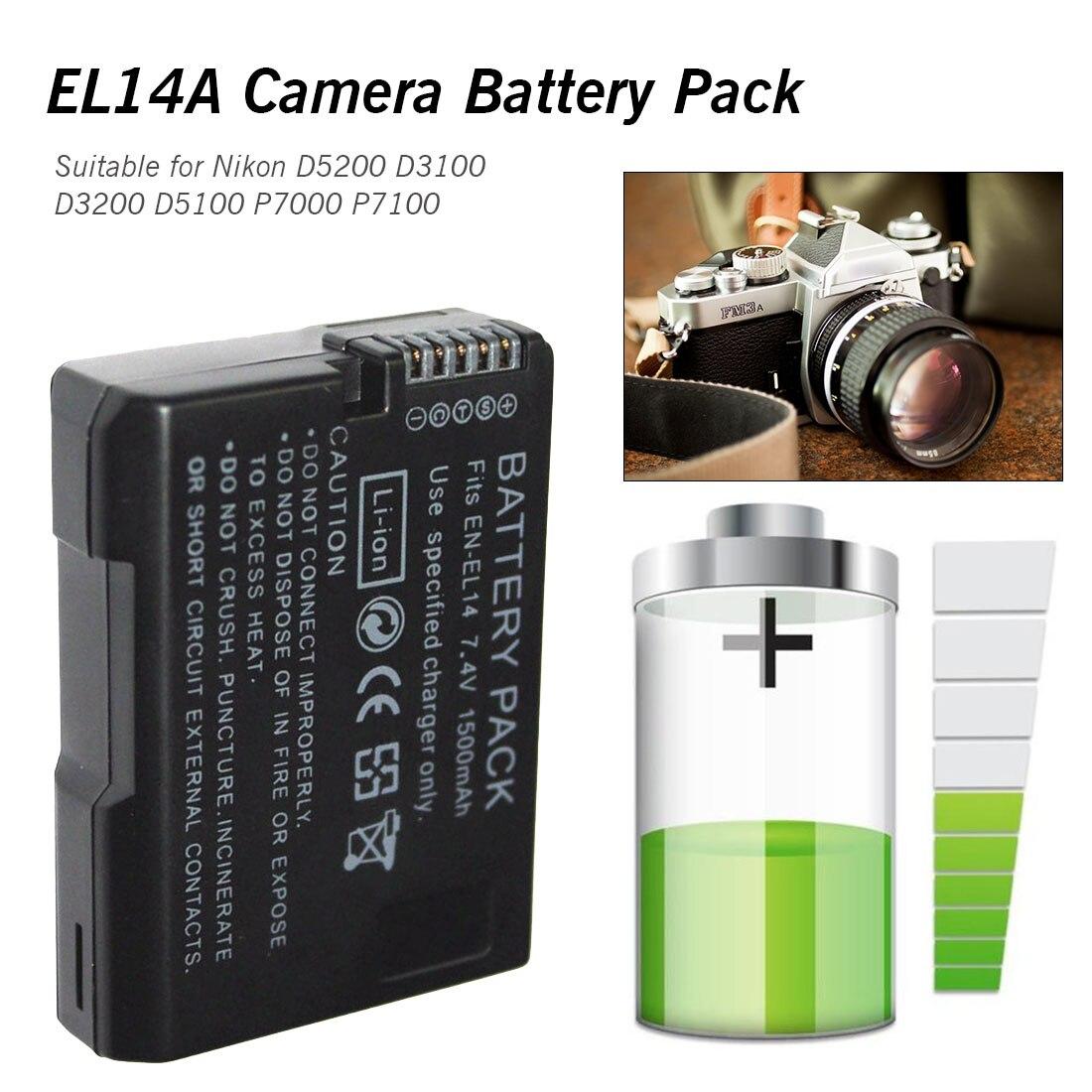 Rechargeable Appareil Photo Numérique EN-EL14 ENEL14 EN EL14 Batterie Pour Nikon D5200 D3100 D3200 D5100 P7000 P7100 MH-24 DSLR Caméra