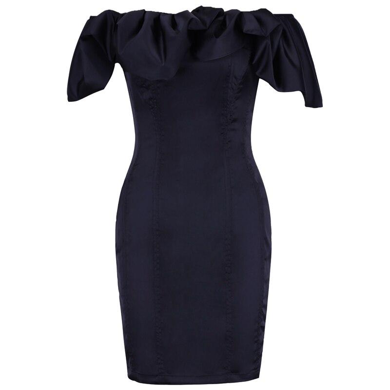黒オフショルダーノースリーブミニファッションボディコンドレス Spencers  Ocstrade
