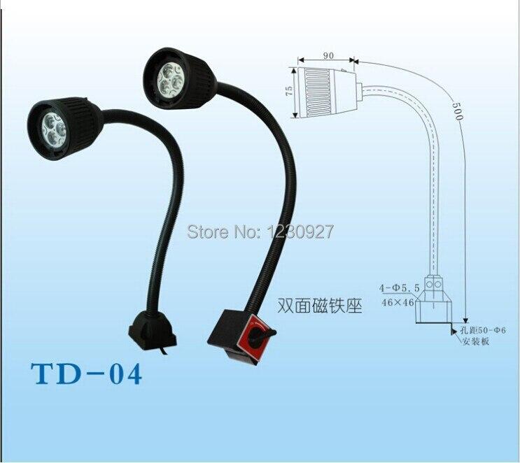 3W 110V/240V soft rod waterproof led aluminum alloy work light Magnetic base CNC machine working tooling lamp