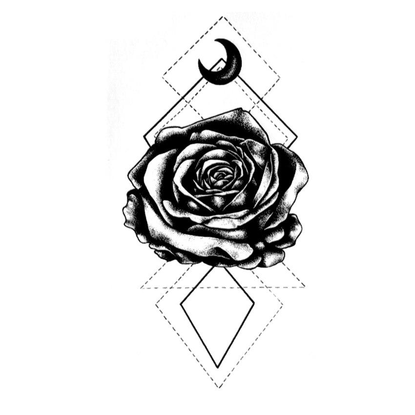 Moon Rose Waterproof Temporary Tattoo Sticker  Tatuagem Fake Tattoo The Flash Tatoo  Temporary Stickers Team Bride Tatuajes