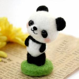 Image 3 - Wool Felt Needle Poked Kitting DIY Cute Animal Dog Panda Rabbit Wool Felting Package Non Finished Handmade Pets Toy Doll Decor