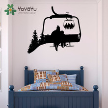 цена на Ski Lift Wall Decal Skiers Snowboard Winter Sport- Ski Lift Chair Wall Decal- Skiing Sports Decal Bedroom Kids Decal NY-20