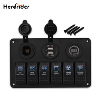 Herorider 6 Gang Switch Panel Dual Usb Car Charger 12V Voltmeter Auto Boat Marine Cigarette Lighter Led Rocker Switch Panel